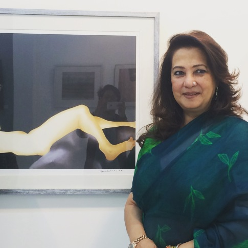 The first visitor to the Small Format exhibition was actor Moon moon Sen